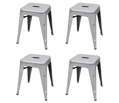 vidaXL Stapelbara pallar 4 st grå stål
