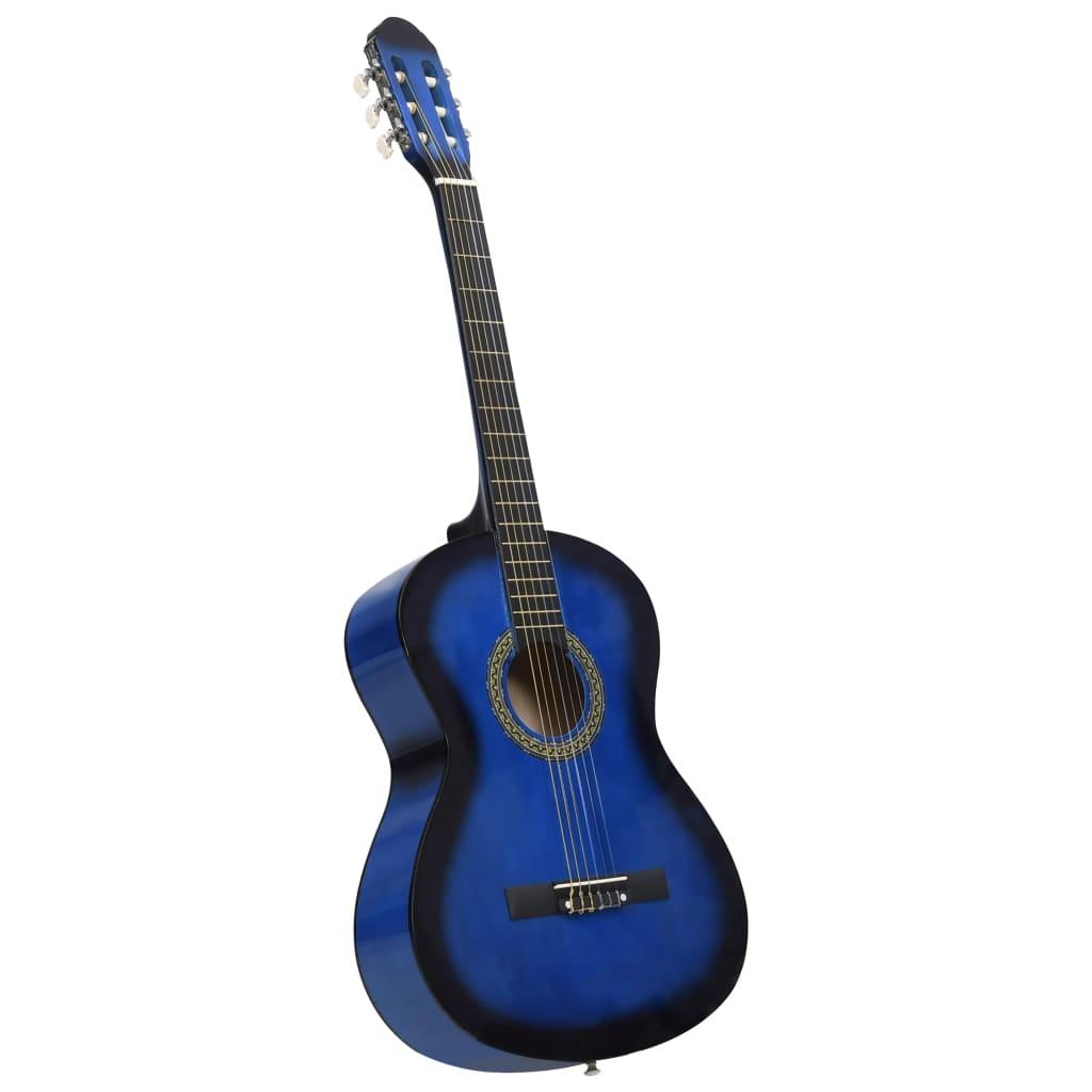 Klasická kytara pro začátečníky modrá 4/4 39'' basswood