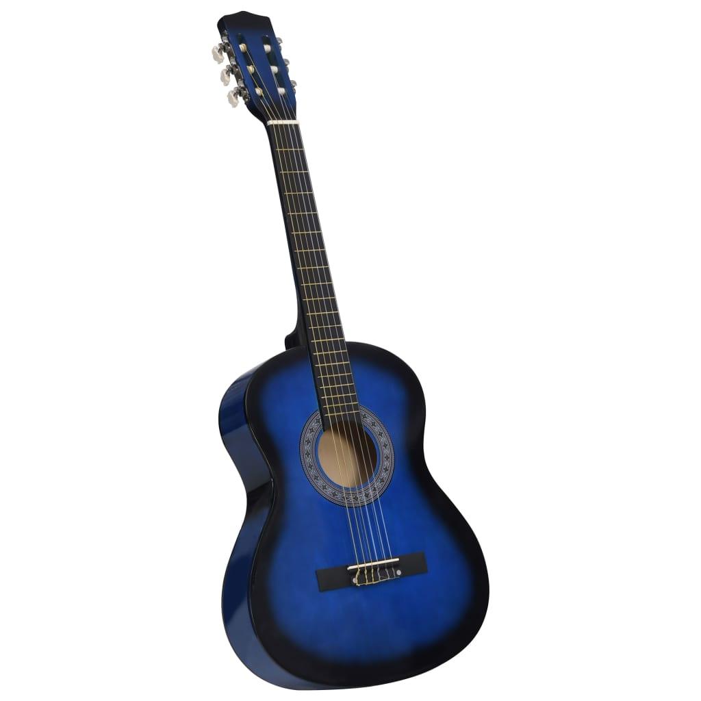 Klasická kytara pro začátečníci a děti modrá 3/4 36''