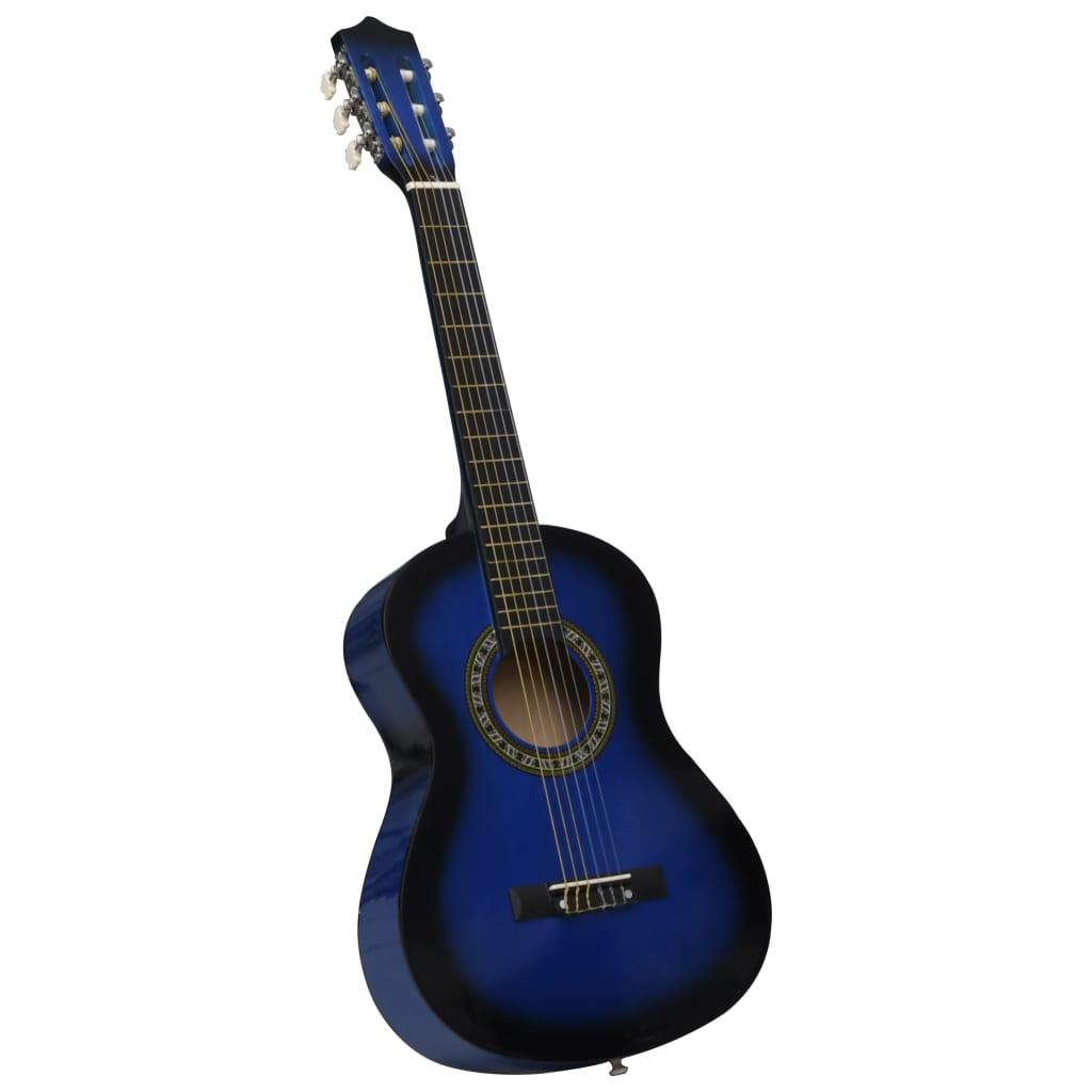 Klasická kytara pro začátečníci a děti modrá 1/2 34''