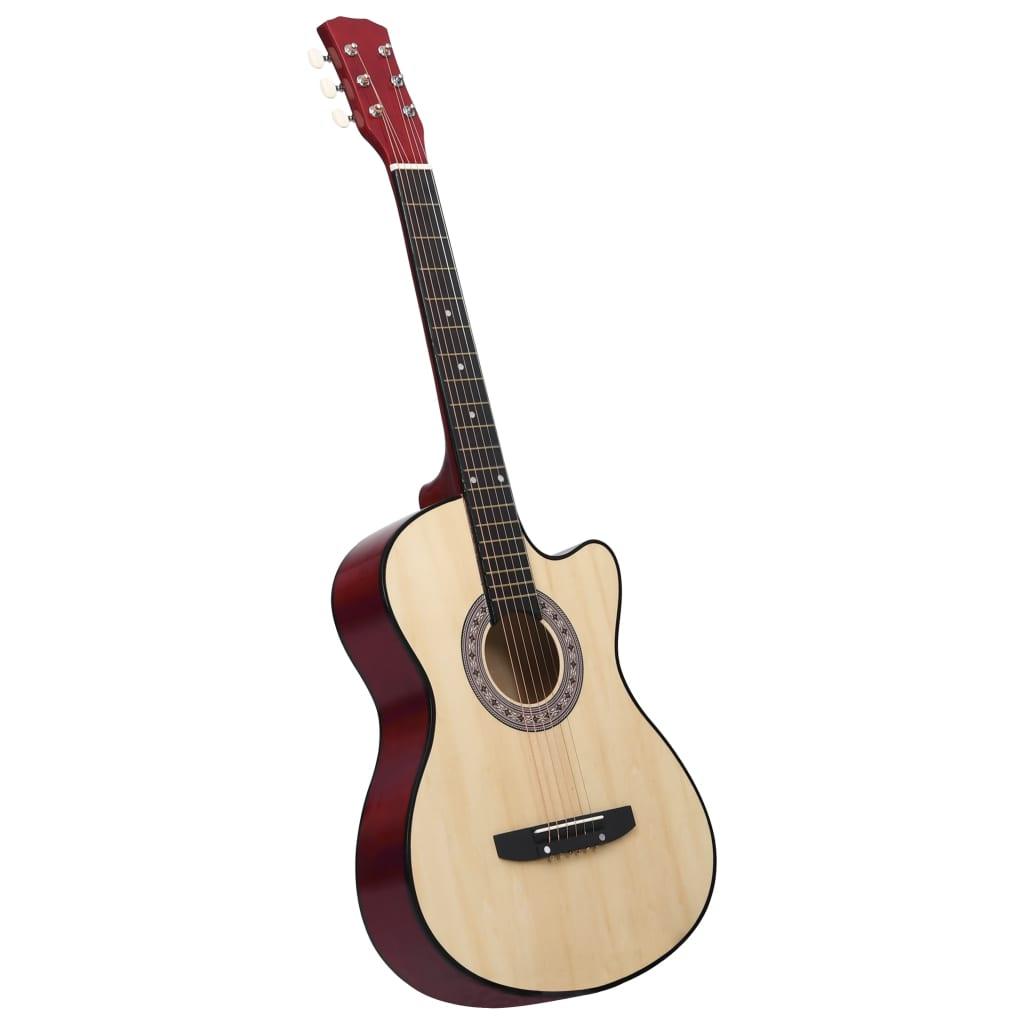 Folková akustická kytara s výřezem 6 strun 38'' basswood
