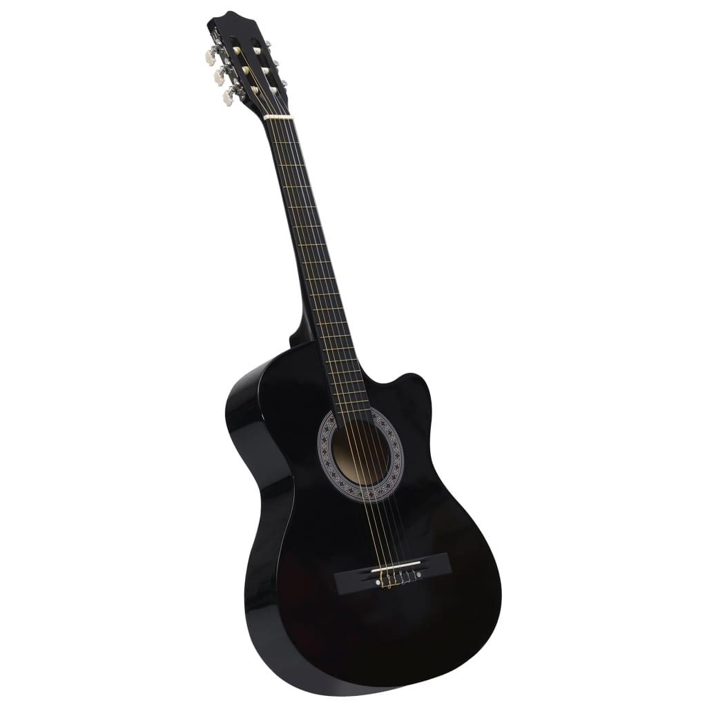Folková akustická kytara s výřezem se 6 strunami černá 38''