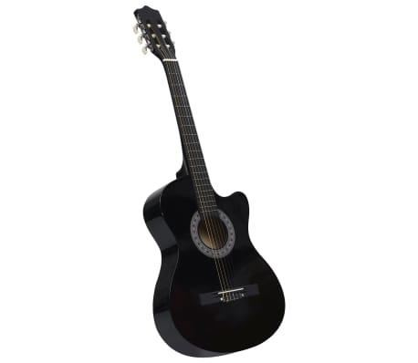 """vidaXL Akustisk westerngitarr med cutaway 6 strängar svart 38"""""""