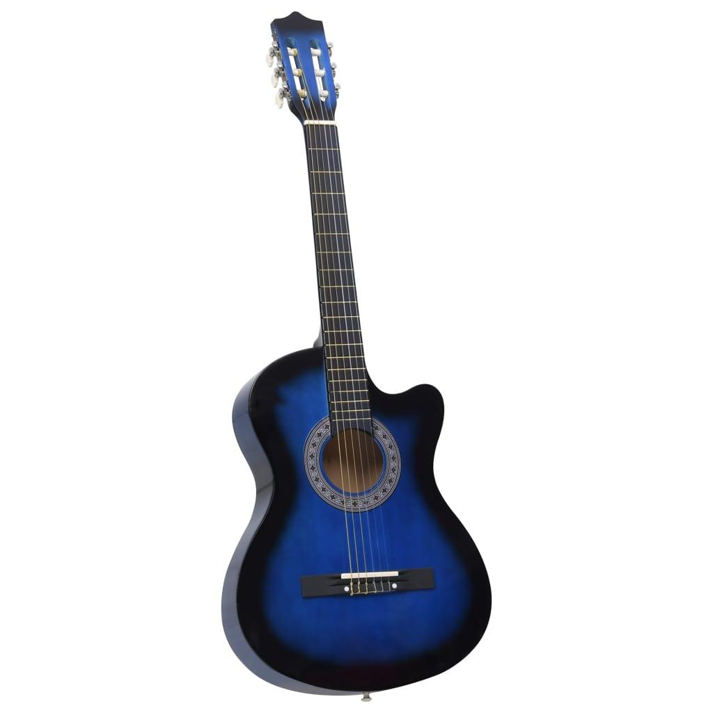 Folková akustická kytara s výřezem 6 strun modrá stínovaná 38''