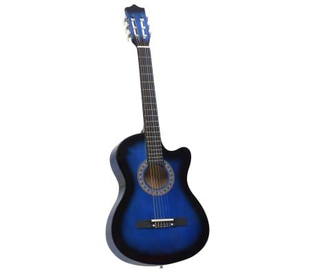 """vidaXL Guitare acoustique pan coupé western 6 cordes Bleu ombré 38"""""""