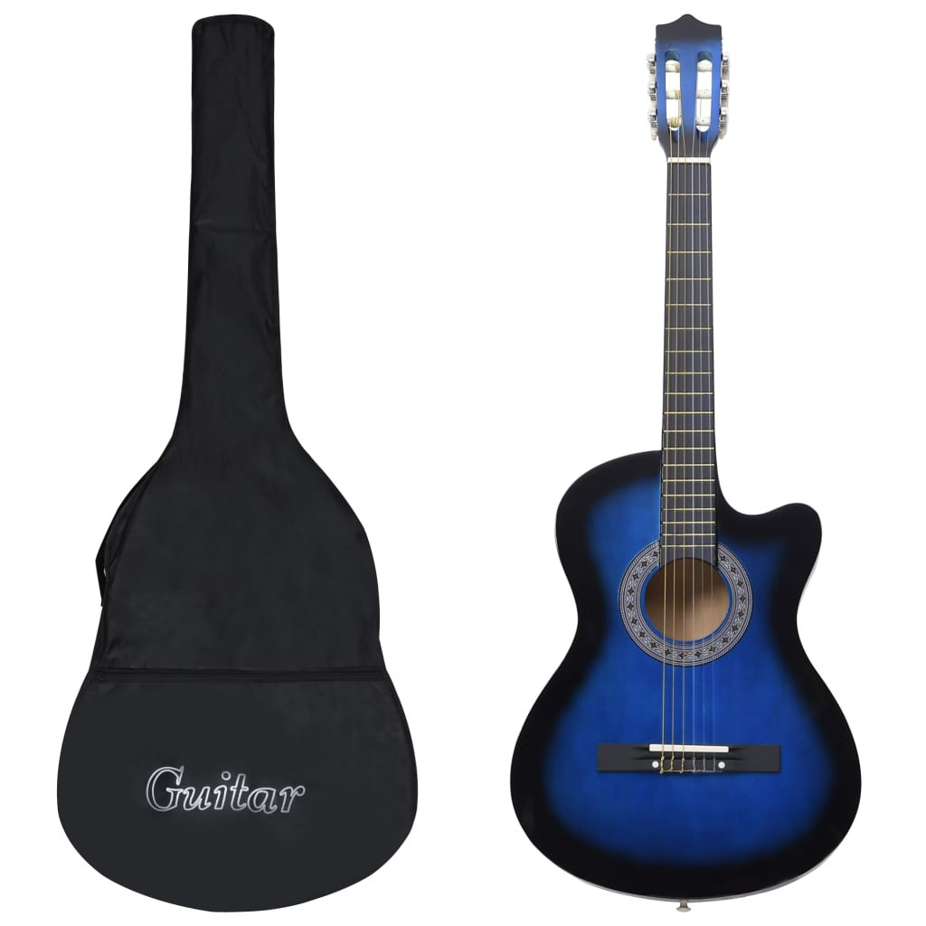 12dílný folkový akustický kytarový set se 6 strunami modrý 38''