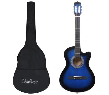 """vidaXL Akustisk gitarr 12 delar med 6 strängar western blå 38"""""""