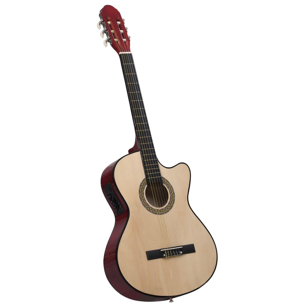 Folková akustická kytara s výřezem ekvalizér a 6 strun