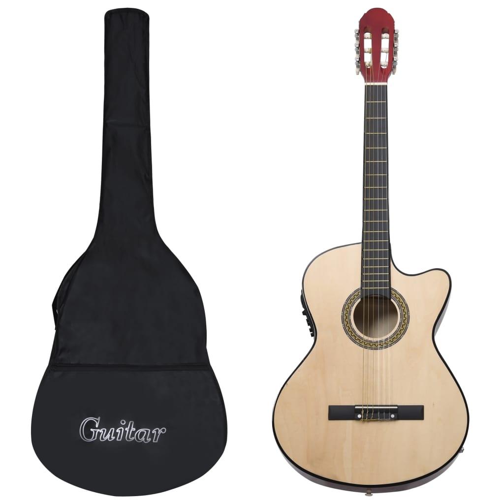 vidaXL Set chitară acustică occidentală 12 piese 6 corzi cu egalizator poza vidaxl.ro