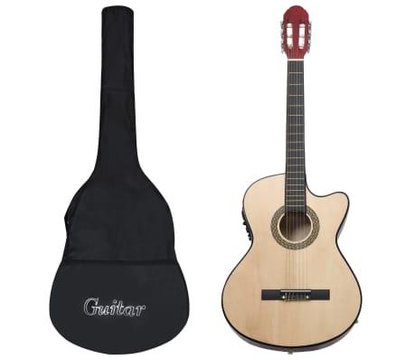 vidaXL Gitarr 12 delar med EQ-pedal 6 och strängar western