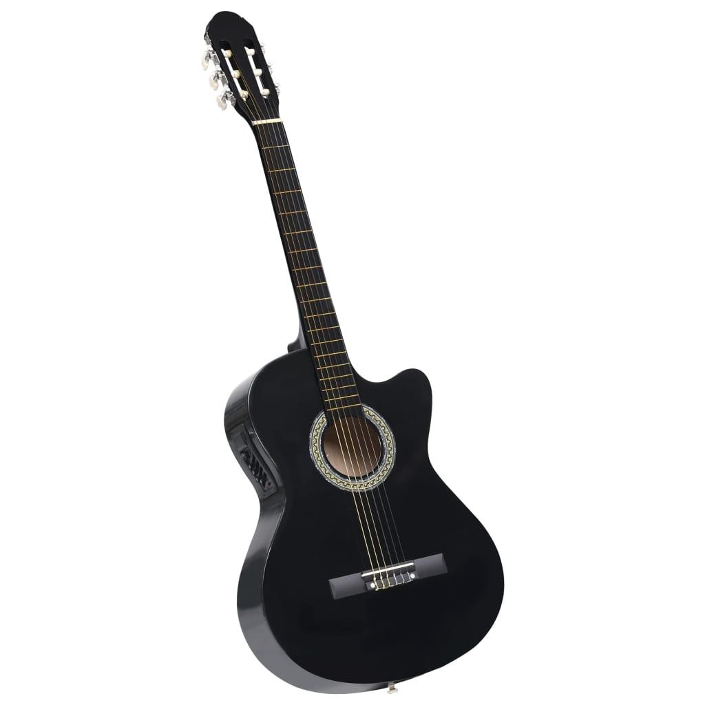 Folková akustická kytara s výřezem ekvalizér a 6 strun černá