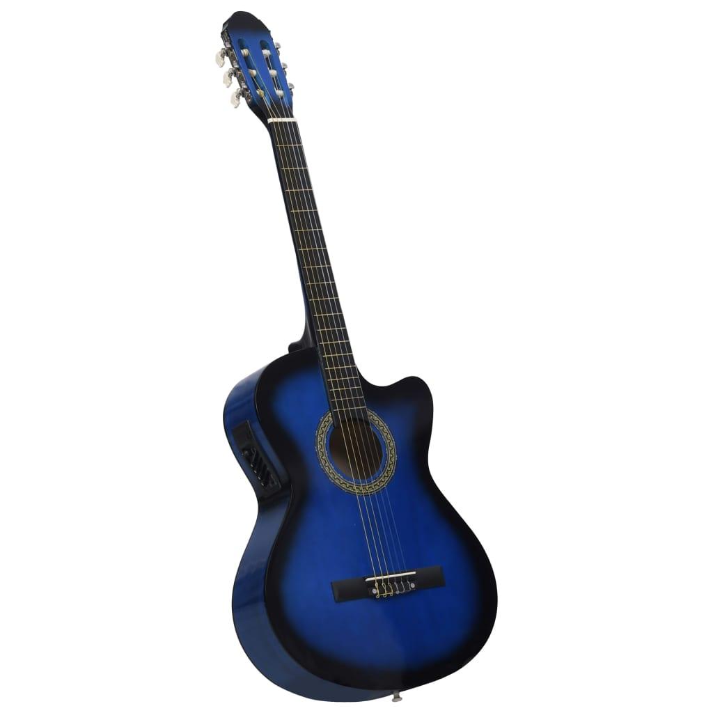 Folková akustická kytara s výřezem ekvalizér a 6 strun modrá