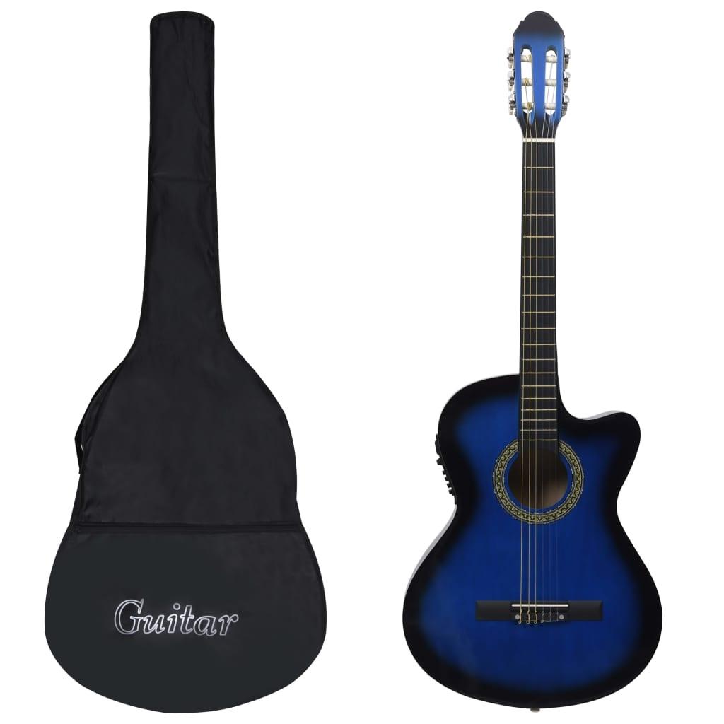 12dílný folkový kytarový set s ekvalizérem a 6 strunami modrý