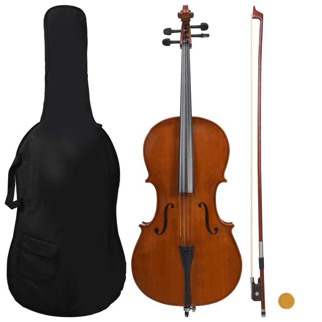 vidaXL Set complet violoncel cu husă, arcuș păr natural, lemn 4/4 imagine vidaxl.ro