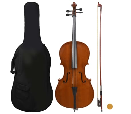 vidaXL Cello Full Set with Bag and Natural Hair Bow Dark Wood 4/4