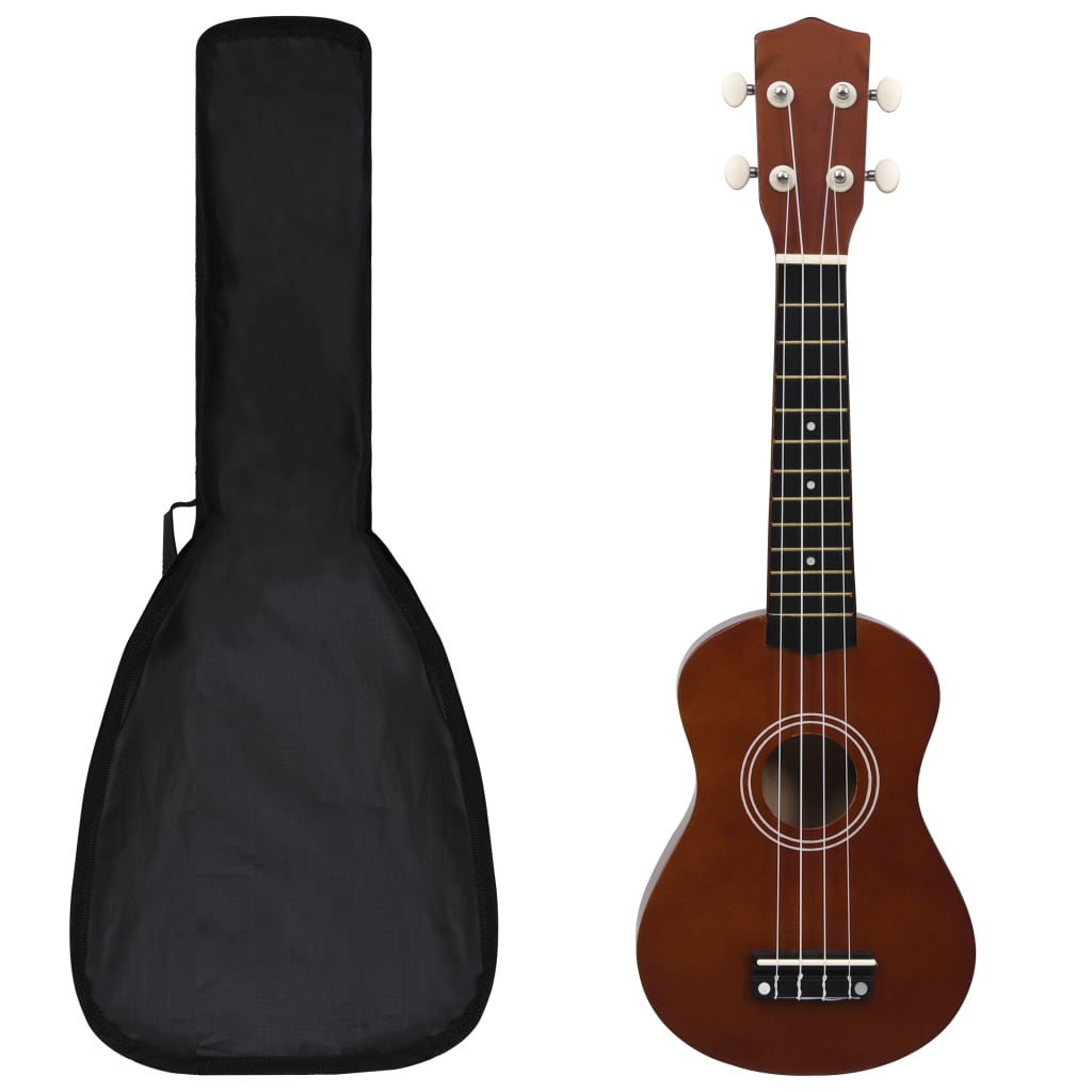 """Set soprano ukulele s obalem pro děti tmavé dřevo 21"""""""