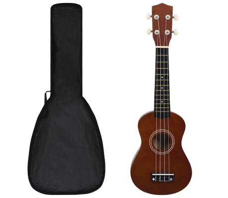 vidaXL Soprano Ukulele Set with Bag for Kids Dark Wood 21""