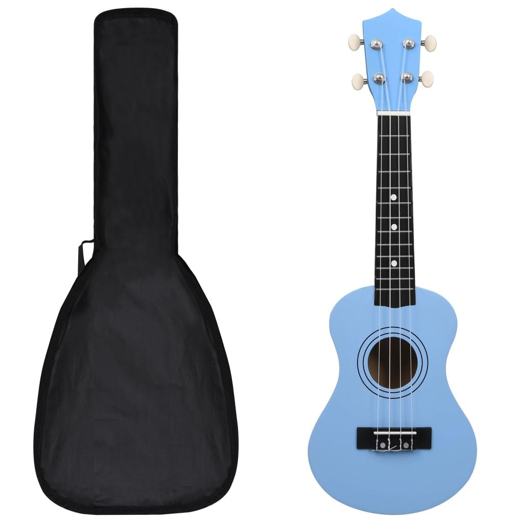"""vidaXL Set ukulele Soprano pentru copii, cu husă, bleu, 21"""" poza vidaxl.ro"""