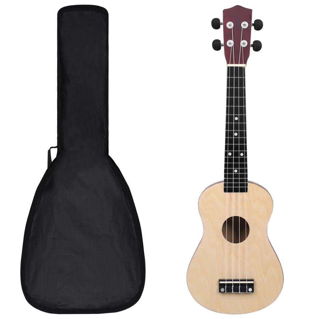 """vidaXL Set ukulele Soprano pentru copii, cu husă, lemn deschis, 23"""" poza vidaxl.ro"""