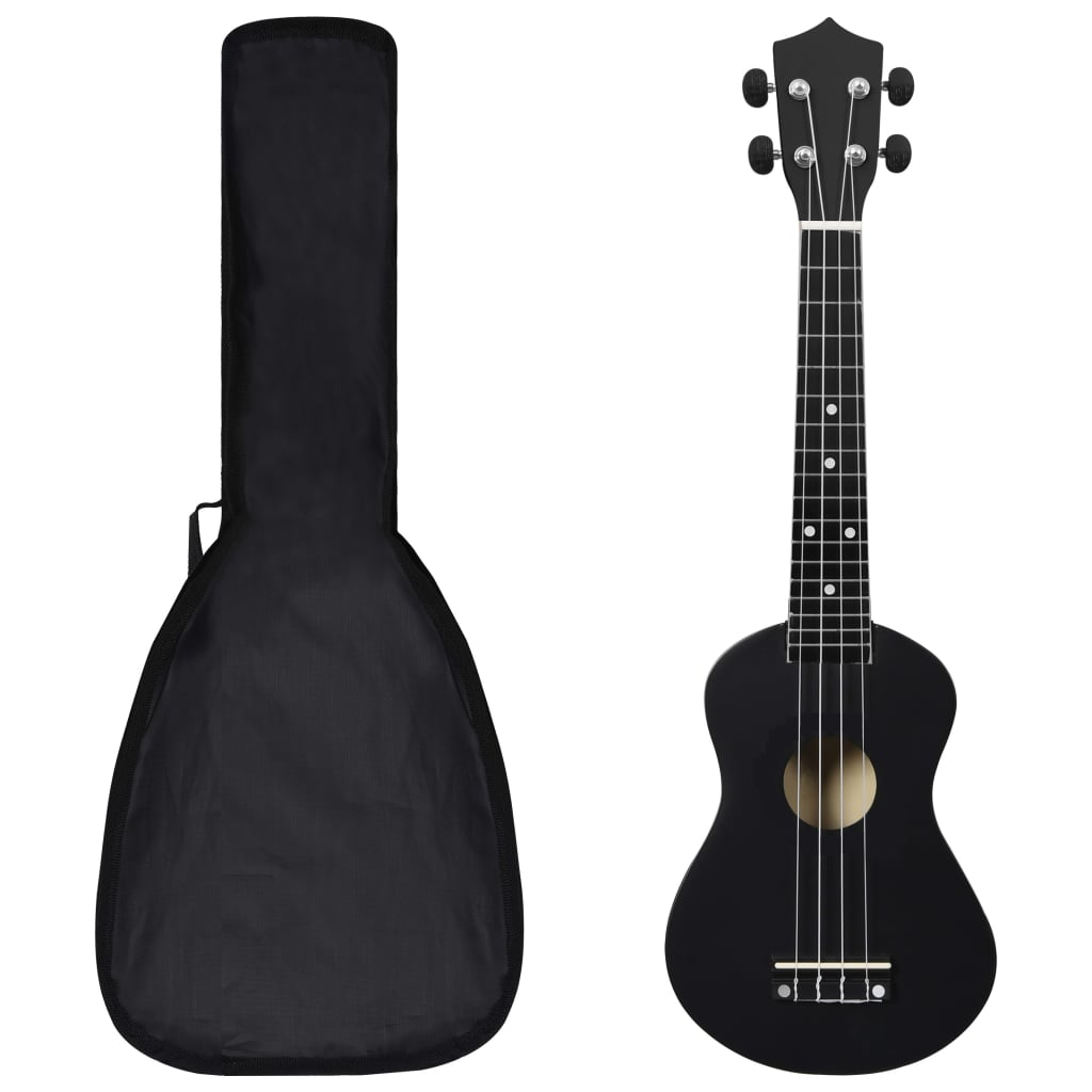 """vidaXL Set ukulele Soprano pentru copii, cu husă, negru, 23"""" poza vidaxl.ro"""
