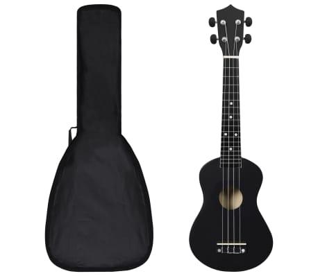 """vidaXL Set ukulele Soprano pentru copii, cu husă, negru, 23"""""""