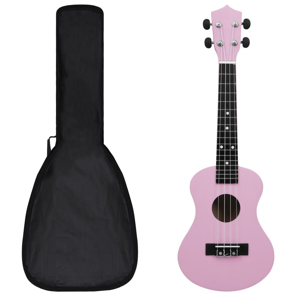 """vidaXL Set ukulele Soprano pentru copii, cu husă, roz, 21"""" poza vidaxl.ro"""