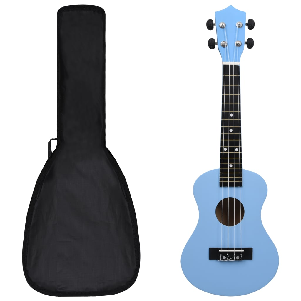 """vidaXL Set ukulele Soprano pentru copii, cu husă, bleu, 23"""" poza vidaxl.ro"""