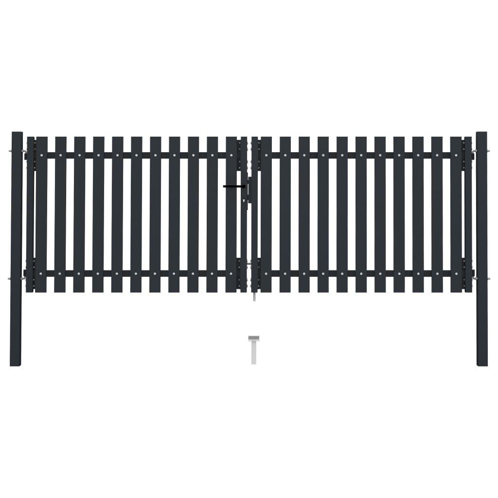 vidaXL Poartă de gard dublă, antracit, 306 x 150 cm, oțel vidaxl.ro