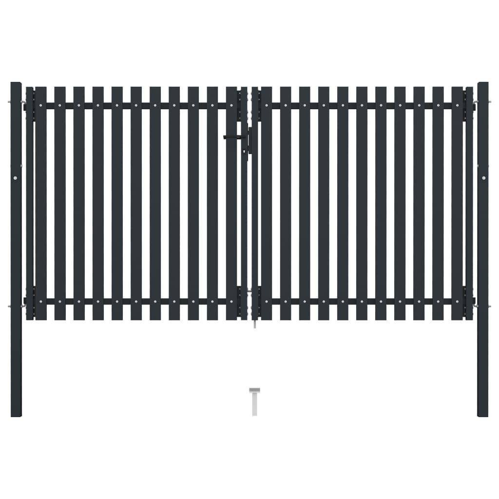 vidaXL Poartă de gard dublă, antracit, 306 x 200 cm, oțel poza 2021 vidaXL