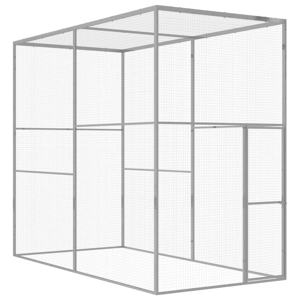 vidaXL Cușcă pentru pisici, 3 x 1,5 x 2,5 m, oțel galvanizat vidaxl.ro
