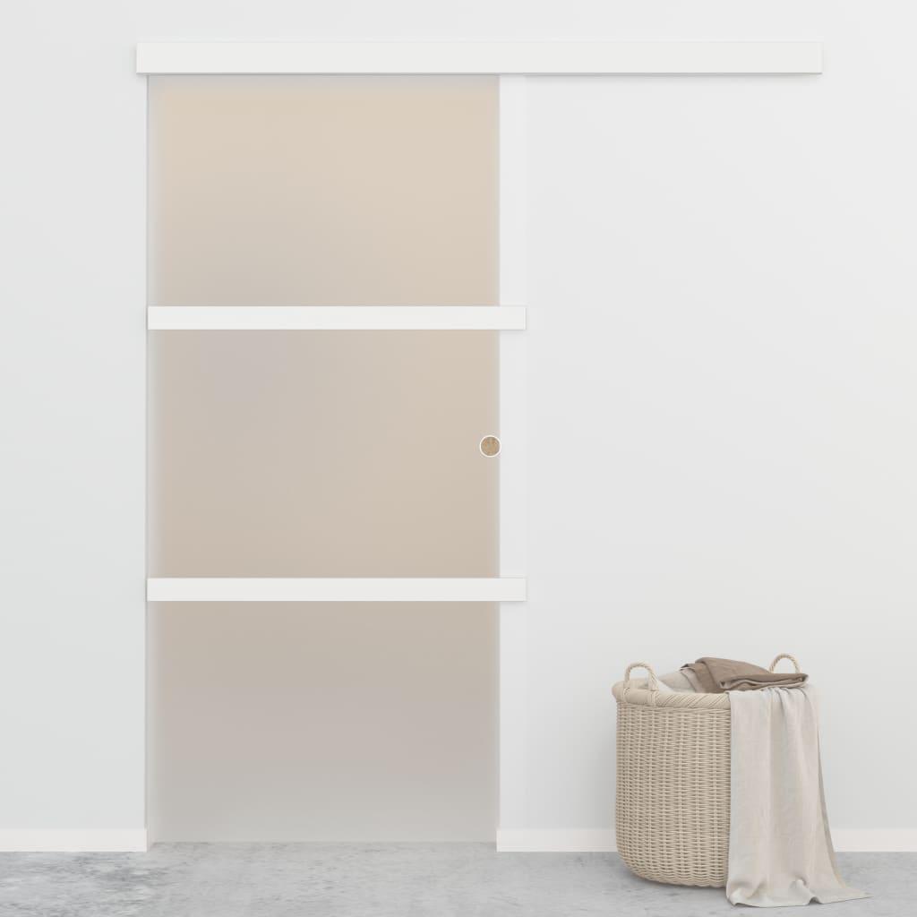 Posuvné dveře s měkkými zarážkami ESG sklo 102,5x205cm stříbrné