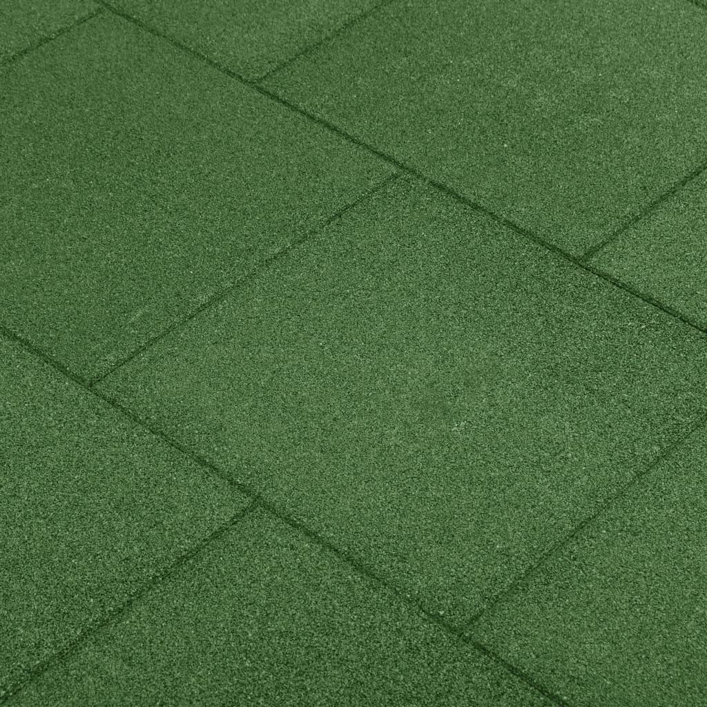 vidaXL Plăci de protecție la cădere 18 buc, verde, 50x50x3 cm, cauciuc vidaxl.ro