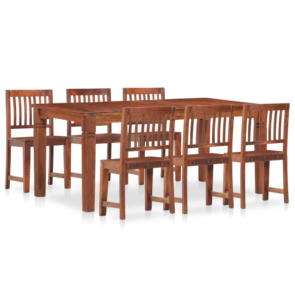 vidaXL Set mobilier de masă, 7 piese, lemn masiv de mango și acacia poza vidaxl.ro