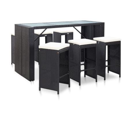 vidaXL 7 Piece Garden Bar Set with Cushions Poly Rattan Black