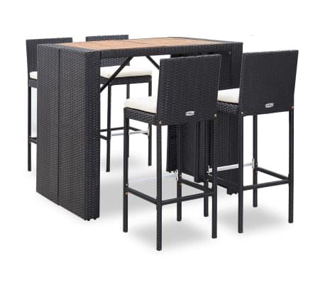 vidaXL 5 Piece Outdoor Bar Set Poly Rattan and Acacia Wood Black