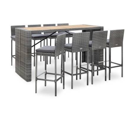 vidaXL 9-tlg. Garten-Bar-Set Poly Rattan und Akazienholz Grau