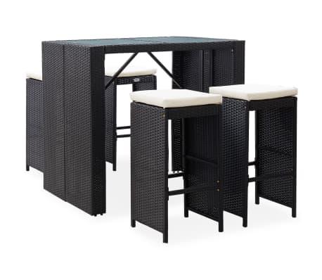 vidaXL 5 Piece Outdoor Bar Set Poly Rattan and Glass Black