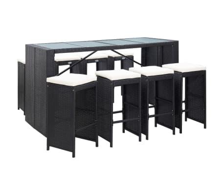 vidaXL 9 Piece Outdoor Bar Set Poly Rattan Black
