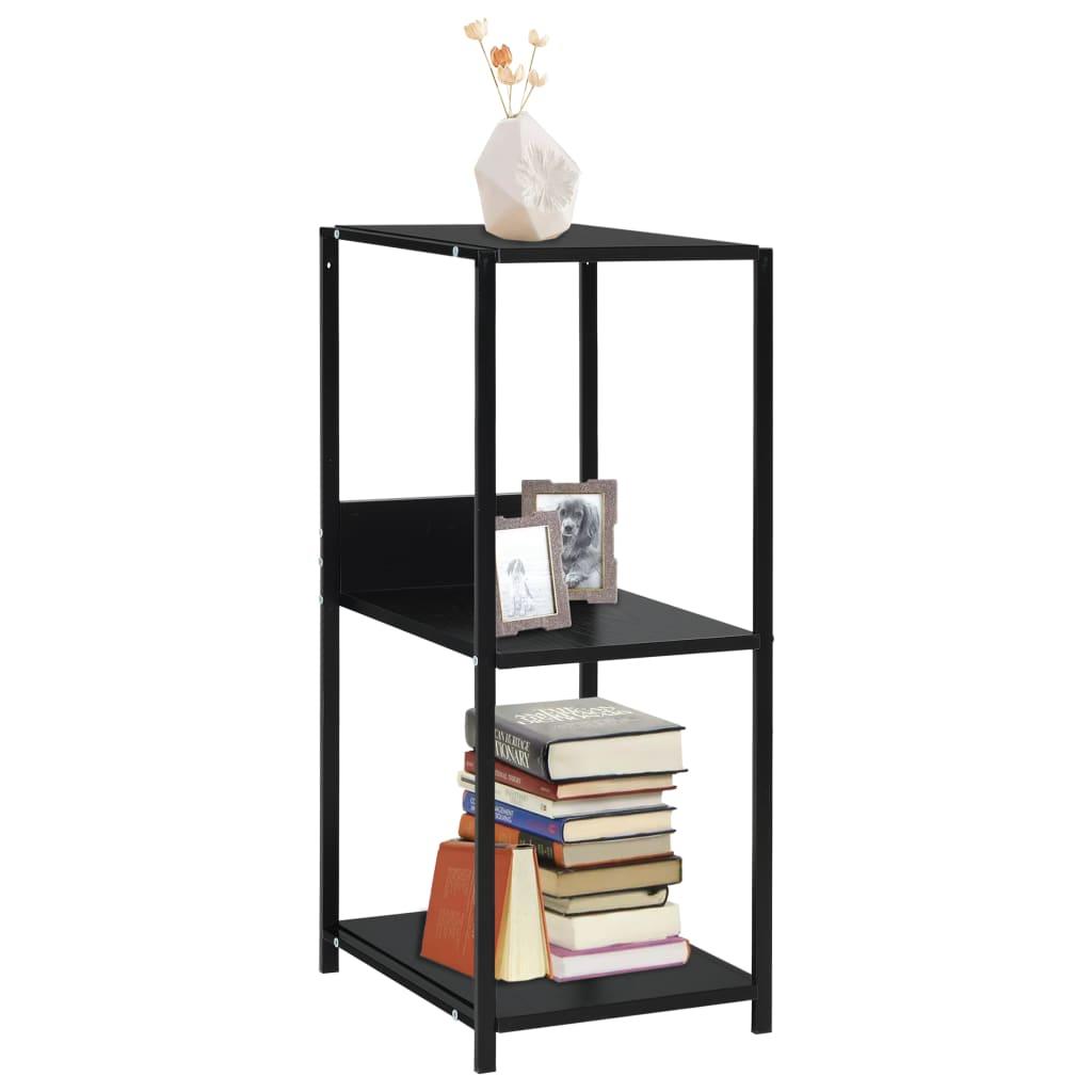 vidaXL Malá rovná knihovna černá 33,5 x 39,6 x 79,7 cm dřevotříska