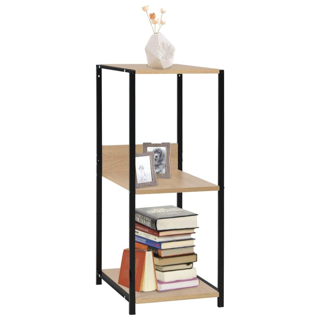 Malá rovná knihovna černá a dub 33,5x39,6x79,7 cm dřevotříska