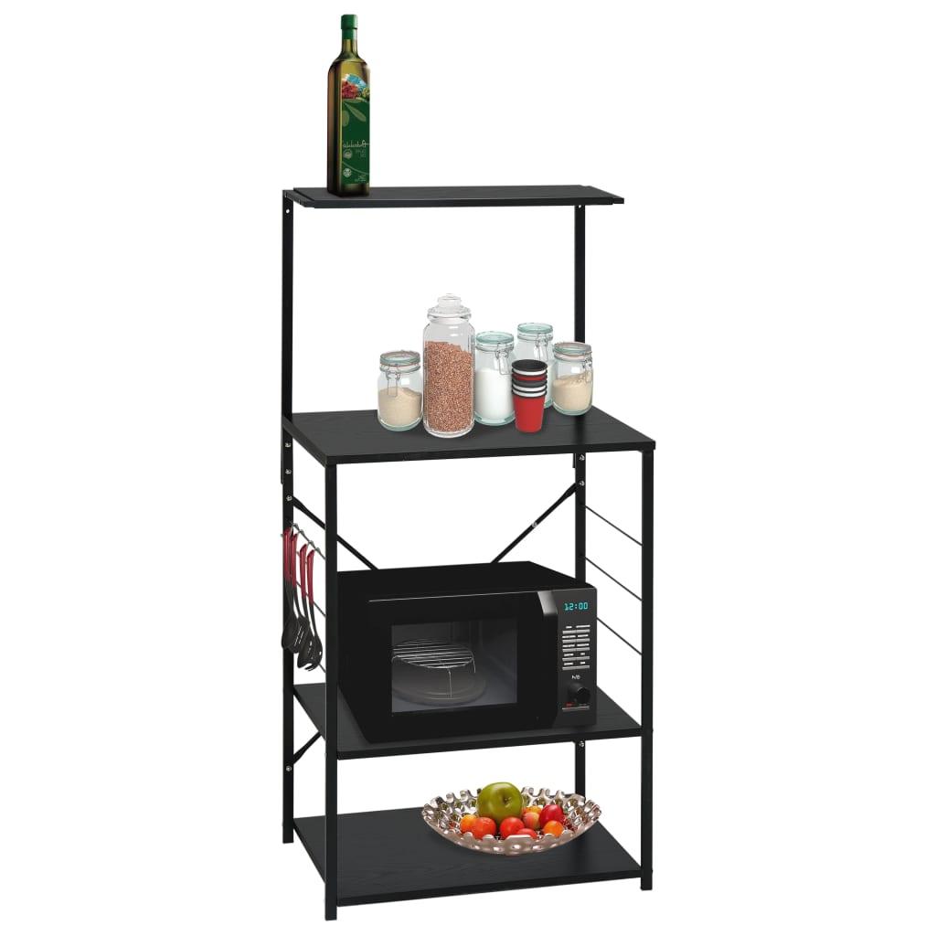 vidaXL Dulap pentru cuptor de microunde, negru, 60x39,6x123 cm, PAL poza vidaxl.ro