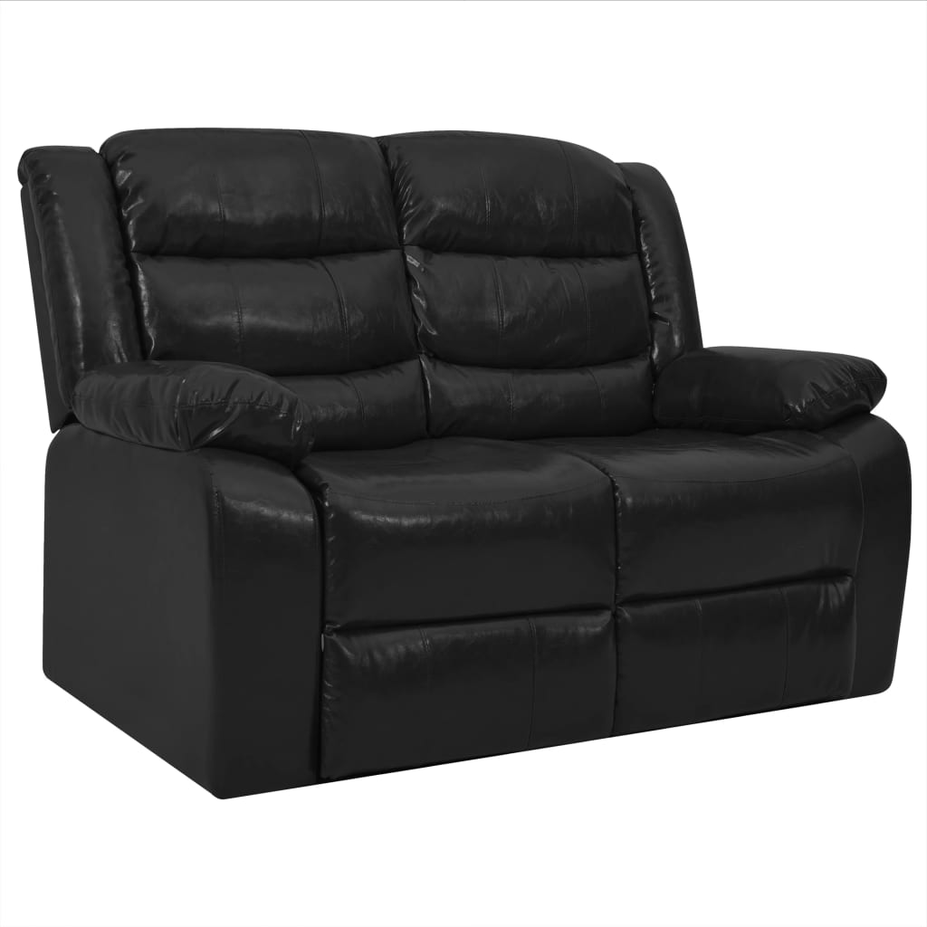 Canapé droit 2 places Noir Cuir Confort