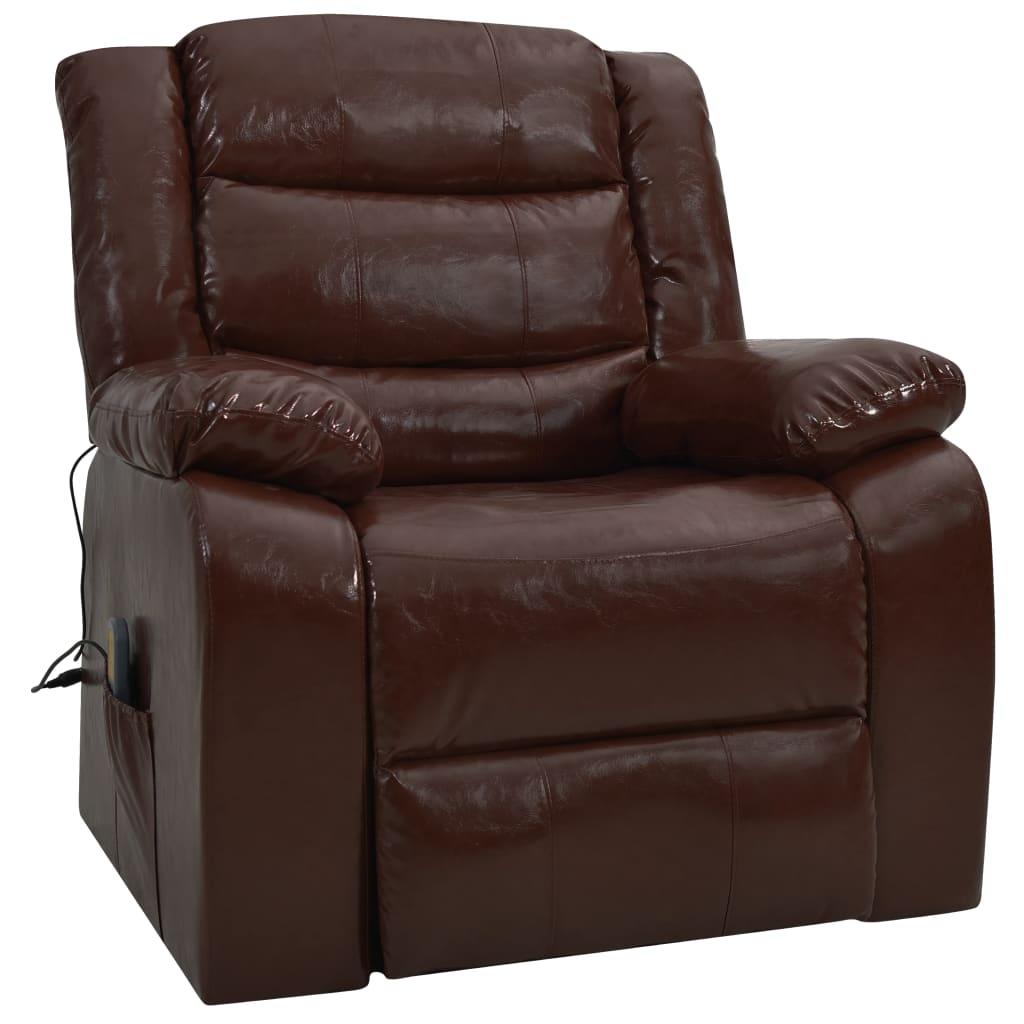 vidaXL Fotel masujący, rozkładany, brązowy, sztuczna skóra
