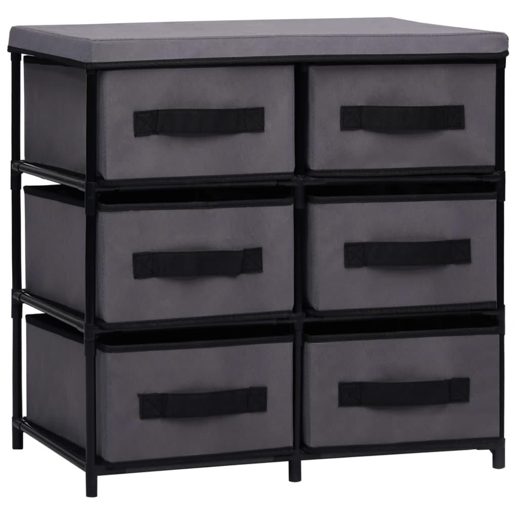 Úložná skříňka s 6 zásuvkami 55 x 29 x 55 cm šedá ocel