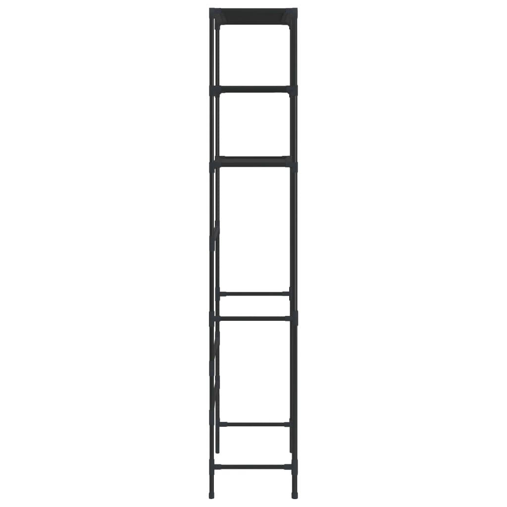 vidaXL Stalak iznad toaletne školjke s 3 police crni 53 x 28 x 169 cm