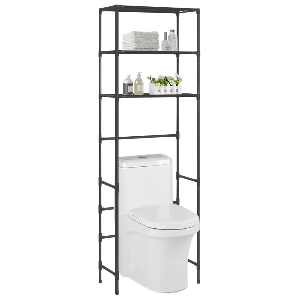 vidaXL Etajeră peste toaletă cu 3 niveluri, negru, 53 x 28 x 169 cm vidaxl.ro