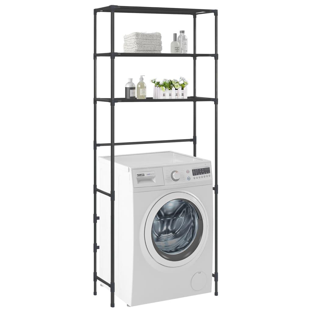 vidaXL Etajeră peste mașina de spălat cu 3 niveluri negru 69x28x169 cm vidaxl.ro