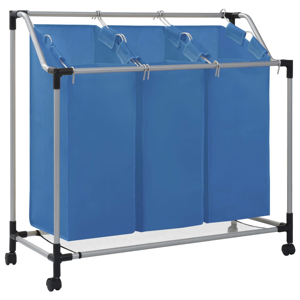 vidaXL Coș sortare rufe cu 3 saci, albastru, oțel imagine vidaxl.ro