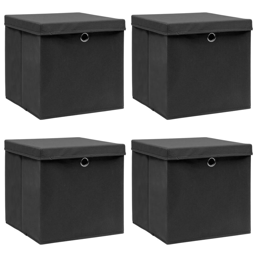 vidaXL Cutii depozitare cu capace, 4 buc., negru, 32x32x32 cm, textil poza vidaxl.ro