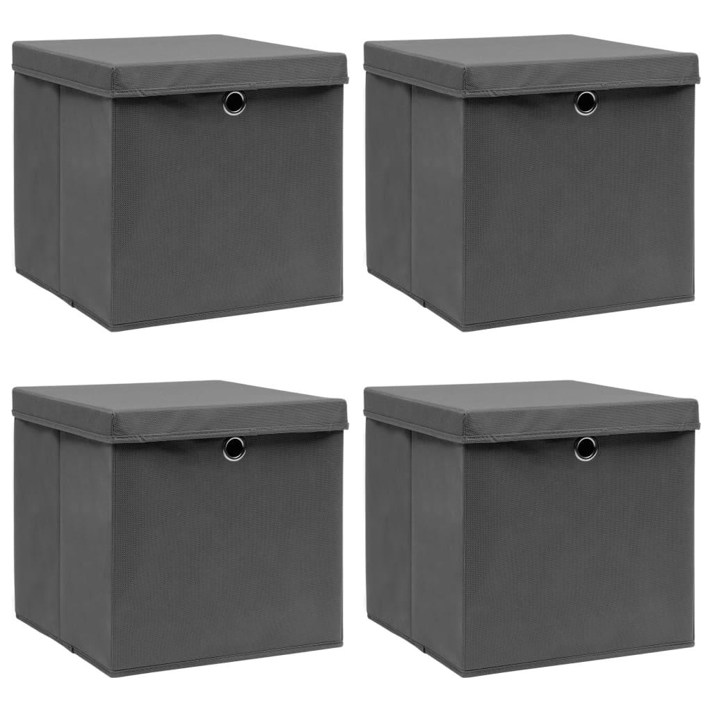 vidaXL Cutii depozitare cu capace, 4 buc., gri, 32x32x32 cm, textil vidaxl.ro